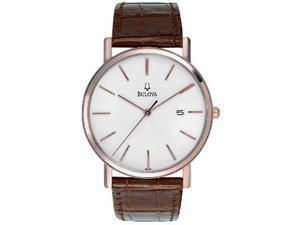 Bulova Mens Two-Tone Rose Gold Brown Leather Band Quartz Watch 98H51