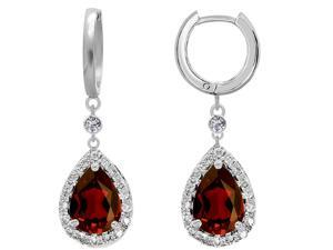 Star K Pear Shape 9x7mm Simulated Garnet Drop Earrings Dangling On Huggie Hoop in Sterling Silver