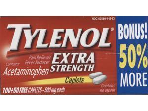 Tylenol Extra Strength 1 box of 100 caplets Pain Reliever, Fever Reducer