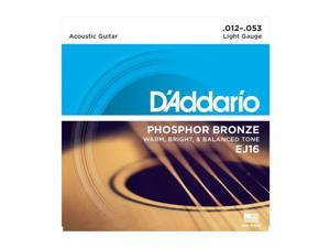 D'Addario EJ16 Phosphor Bronze Light Acoustic Guitar String Set, 12-53
