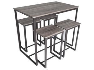 Zenvida 5 Piece Bistro / Pub Table Set With 4 Stools