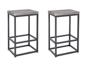 "Zenvida 24"" Counter Height Bar Stools Set of 2 Backless Industrial Modern Kitchen Island Chairs"