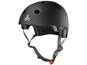 Triple Eight Dual Certified Bicycle/Skate Helmet with EPS Liner (All Black Rubber - L/XL)