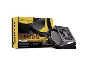 silverstone tek 750w 80 plus gold fixed cable power supply with flat black cables and quiet fan curve sst-et750-g
