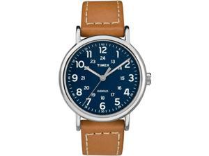 Timex Men's Weekender 40 Indiglo Brown/Blue Leather Strap Watch - TW2R42500