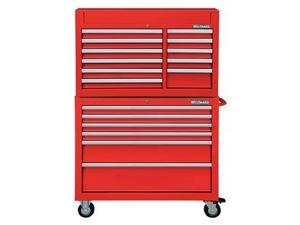 """WESTWARD 7CX90 42""""W Tool Chest and Cabinet Combination 17 Drawers, Red, 66-5/8""""H"""