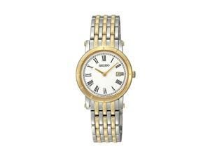 Seiko Quartz Ladies White Dial Two Tone Stainless Steel Bracelet Watch SXB418