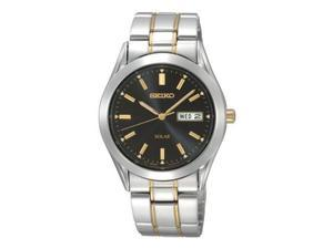 Seiko Solar Mens Black Day/Date Dial Two Tone Stainless Steel Watch SNE047