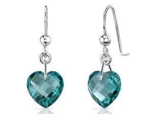 Stylish 9.50 carats Heart Shape Green Spinel earrings in Sterling Silver
