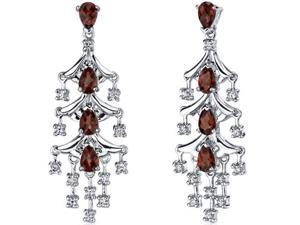 Captivating Seduction 4.00 Carats Garnet Dangle Earrings in Sterling Silver