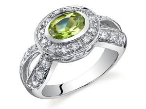 Majestic Brilliance 0.75 carats Peridot Ring in Sterling Silver Size 6