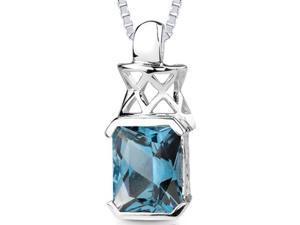 Oravo 5.00 ct Radiant Cut London Blue Topaz Pendant in Sterling Silver
