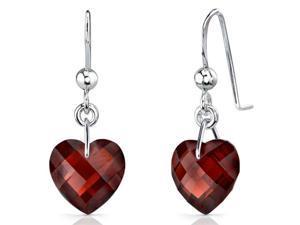 Brilliant 9.00 carats Heart Shape Genuine Garnet earrings in Sterling Silver