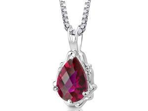 """Oravo SP8302 Pear Shape Checkerboard Cut Created Ruby in Sterling Silver Pendant with 18"""" Necklace"""
