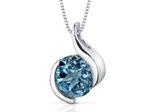 Oravo Stunning Sophistication 2.25 ct Round Shape Sterling Silver London Blue Topaz Pendant