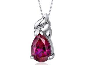 """3.75 Ct. Pear Shape Created Ruby in Sterling Silver Pendant with18"""" Necklace"""