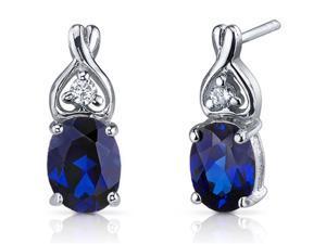 Classy Style 3.50 ct Blue Sapphire Oval Cut Cubic Zirconia Earrings in Sterling Silver