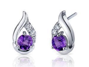 Oravo SE7312 Radiant Teardrop 1.00 Carats Amethyst Round Cut Cubic Zirconia Earrings in Sterling Silver