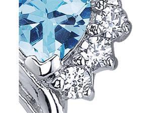 Oravo Cupids Grace 1.00 Carats Swiss Blue Topaz Heart Shape Cubic Zirconia Earrings in Sterling Silver