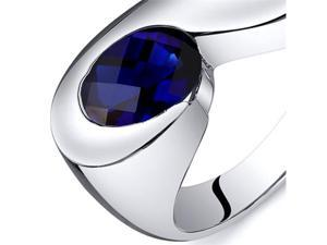 Artistic 1.75 carats Blue Sapphire Ring in Sterling Silver Size  8, Available in Sizes 5 thru 9