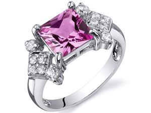 Princess Cut 2.25 carats Pink Sapphire CZ Diamond Ring in Sterling Silver Size  5, Available in Sizes 5 thru 9