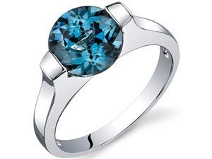 Bezel Set 2.25 carats London Blue Topaz Engagement Ring in Sterling Silver Size  6, Available in Sizes 5 thru 9
