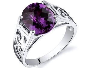 Checkerboard Cut 3.50 carats Alexandrite Solitiare Ring in Sterling Silver Size  7, Available in Sizes 5 thru 9