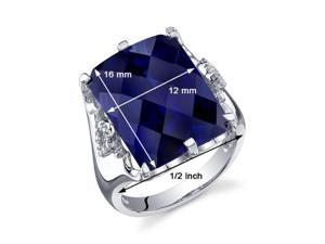 Royal Marvel 16.00 Carats Radiant Cut Blue Sapphire Ring in Sterling Silver Size 5, Available Sizes 5 to 9