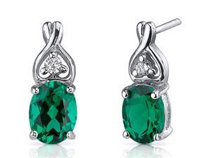 fb7683b33 2.00 Ct. Oval Shaped Created Emerald Earrings in Sterling Silver Rhodium  Finish