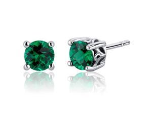 Scroll Design 1.50 Carats Emerald Round Cut Stud Earrings in Sterling Silver Rhodium Finish