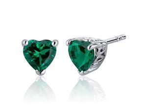 Oravo 1.50 Carats Emerald Heart Shape Stud Earrings in Sterling Silver Rhodium Finish