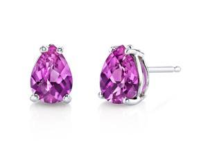 14 kt White Gold Pear Shape 1.75 ct Pink Sapphire Earrings
