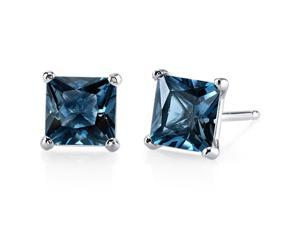 14kt White Gold Princess Cut 2.50 ct London Blue Topaz Earrings
