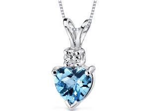 Oravo P8998 14 kt White Gold Heart Shape 1.00 Ct Swiss Blue Topaz Pendant