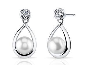 Oravo SE8318 6.5mm Freshwater White Pearl Earrings in Sterling Silver