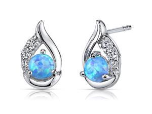 Blue Opal Earrings Sterling Silver Round Cabochon 1.00 Carats
