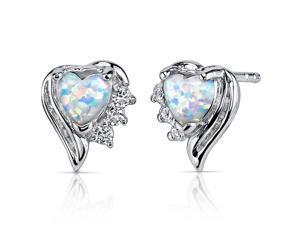 Opal Earrings Sterling Silver Heart Shape 1.00 Carats