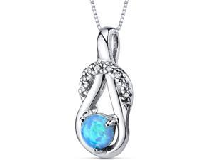 Blue Opal Pendant Necklace Sterling Silver Round Shape 0.50 Carats