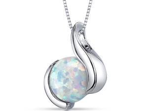 Opal Pendant Necklace Sterling Silver Round Cabochon 1.75 Carats