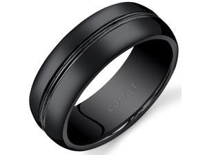 Mens 8mm Black Cobalt Wedding Band Ring Double Groove, Sizes 7 through 14