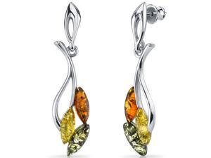 Oravo Baltic Amber Leaf Dangle Earrings Sterling Silver Multiple Color