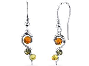 Oravo Baltic Amber Squiggle Earrings Sterling Silver Green Honey Cognac Colors