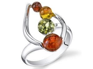 Baltic Amber Open Leaf Ring Multiple Colors Sterling Silver, Sizes 5 through 9