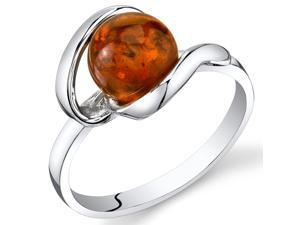 Baltic Amber Open Spiral Ring Sterling Silver Cognac Color Round Shape, Sizes 5 through 9