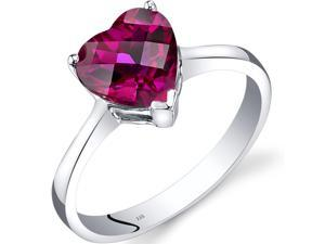 14K White Gold Created Ruby Heart Solitaire Ring 2.25 Carat Size 7