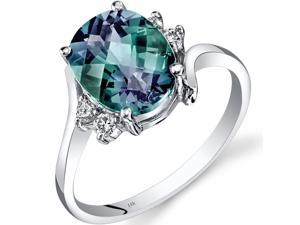 14K White Gold Created Alexandrite Diamond Bypass Ring 3.00 Carat Size 7