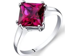 14K White Gold Created Ruby Solitaire Ring 3.25 Carat Princess Cut Size 7