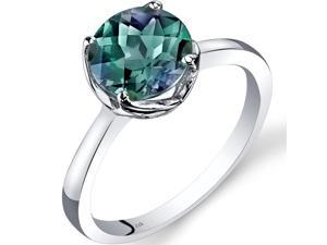 14K White Gold Created Alexandrite Solitaire Ring 2.25 Carat Checkerboard Cut Size 7