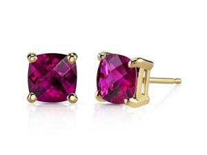 14K Yellow Gold Cushion Cut 2.50 Carats Created Ruby Stud Earrings