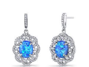 Created Blue Opal Drop Earrings Sterling Silver 3 Carats